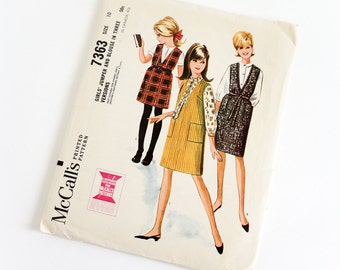 Vintage 1960s Girls Size 10 Jumper and Blouse in Three Versions McCalls Sewing Pattern 7363 Complete / chest 28 waist 24