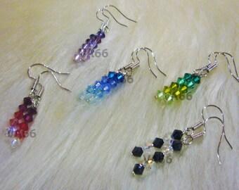 Blue Green Red Black n White Purple shades Swarovski Bicone Earrings Choose Cols bridal, bridesmaids, flower girl, MOB, Prom Birthday Mother