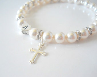 Baptism Bracelet Flower Girl Gift Flower Girl Jewelry First Communion Pearl with Heart Initial and Sterling Silver Cross B242