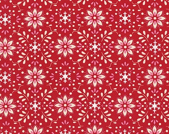 Merry Mistletoe Christmas Holiday Dena Fabric Annaya Red and White Flowers Petals