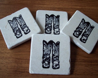 Cowboy / Cowgirl  Boots Western Style tumbled Marble field tile Beverage Coasters Hand Stamped Set Of Four