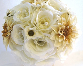 "Wedding flowers silk Bridal bouquet 17 piece Package CREAM GOLD CHAMPAGNE Cream Pearl Artificial bouquets Bride  ""RosesandDreams"""