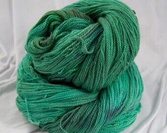 Merino Silk Lace yarn, Gossamer, Jade, Hand Dyed