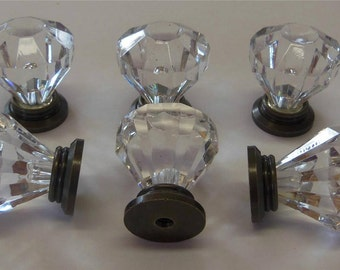 FREE SHIPPING 12 Drawer Pulls Acrylic Diamond Knobs Craft Trim Furniture Accent 1-1/16 Antique Brass Base