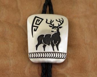 Navajo Silver Bolo Tie Elk Figural