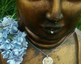 SANSKRIT BLESSING Charm NAMASTE, Necklace in Sanskrit, Sterling Silver Sanskrit Meditation Jewelry, Yoga Inspired Jewelry (#010)