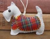 Scottie dog Christmas ornament, Felt dog ornament, Scottie dog decoration, Dog Christmas Ornament, Handmade Scottish Terrier, Tartan, Hamish