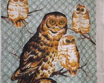 Vintage OWL Linen Kitchen Towel by Bob Goryl & Kay Dee • new with label