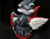 Black and Gray Dragon Sculpture.  Baby in Egg with Red Heart. Romantic Gothic Valentines Day Gift. Fantasy Figurine