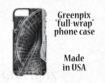 Roller Coaster phone case, iPhone 7 6S, Galaxy S7, Knoebels twister, iPhone 4, iPhone 5, Galaxy S5 S6, black and white, carnival ride, cover
