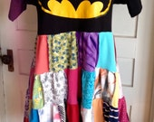 Harry and The Hippe Chic Upcycled Bohemian Striped Patchwork Batman Dress