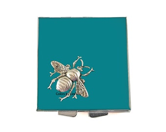 Bee Square Pill Box with 4 Compartments in Hand Painted Enamel Teal Opaque Art Nouvea Insect with Personalized and Color Option