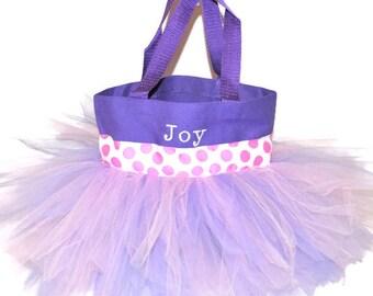 Fairy Bag, Dance Bag, Pink Polka Dot Ribbon With FREE Monogram Name Embroidered on the Bag, Personalized Girl Dance Bag, Ballet Bag