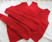 Felted Cashmere Cable Sweater Remnants Christmas Red 2 Ply Recycled Wool Fabric Sewing Craft Supplies Upcycle Projects
