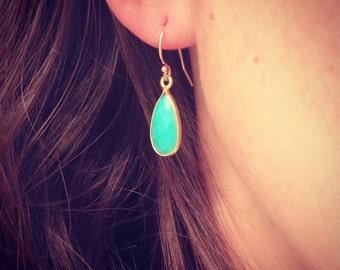 NEW - Turquoise Gemstone Teardrop Earring - Minimalist Jewelry  - Perfect Gift - Minimalist - Simple Everyday - Gift For - Wedding Jewelry