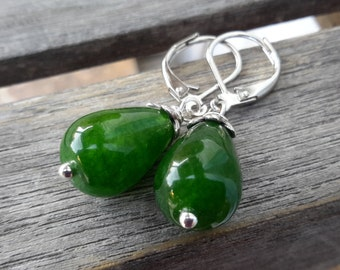 Green Jade & Silver Drops | Small, Simple Stone Teardrop Earrings