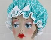 """Shower Cap Women's Waterproof Washable """"Moroccan Aqua"""" Shower Cap"""