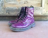 "Vintage Women UK Size 5 (US Size 7) Made in England shiny purple Dr Martens 1460 ""The Original"" 1990s smooth purple Doc Marten combat boots"