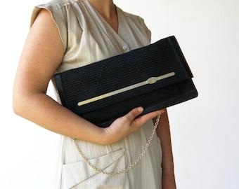 Vintage Black Straw Purse / Black Shoulder Bag