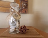Vintage Spice Jar Filled with Sea Stones and Embellished with Vintage Key