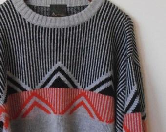 geometric in black red and grey...vintage wool jumper
