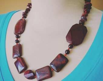 FREE SHIPPING Red Jasper and Garnet Statement Necklace