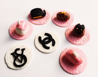 Mini hand bag fondant designer cupcake toppers set of 12