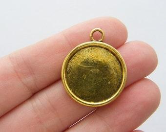 4 Cabochon frame 29 x 24mm antique gold tone fits 20mm