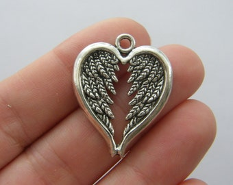 6 Angel wing charms antique silver tone AW151