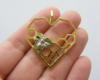 BULK 10 Bee and honeycomb  charms silver and gold tone A19