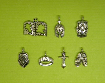The armor of God collection - 7 different antique silver tone charms CC6