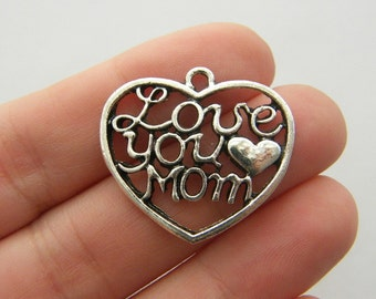 4 Love you mom heart charms antique silver tone M559