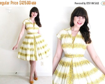 ON SALE 50s Dress / 1950's dress / Yellow Floral 50s Dress