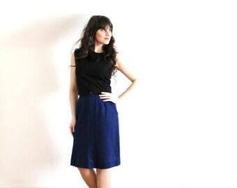 ON SALE 60s Navy Blue Skirt / 1960s Skirt / Navy Blue 60s Skirt