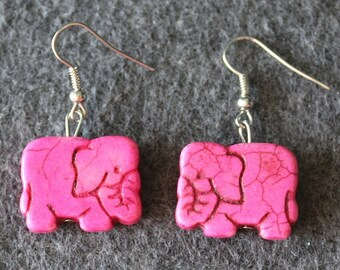 Elephant Howlite Earrings Pink