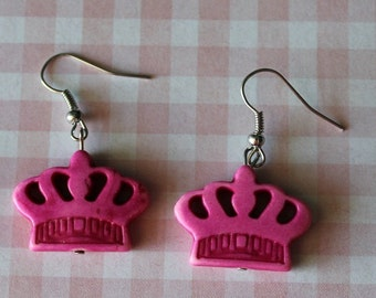 Crown Earrings Pink,Boho Jewelry