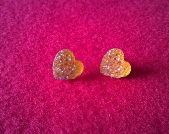 Earrings, Stud Earrings,Druzy Earrings,Yellow Sparkle Hearts,Druzy Heart Earrings