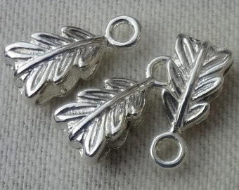 10pcs - sterling silver plated -  Leaf pendant  bails - perfect size and design for fine chains