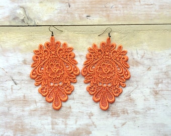 Hot and spicy lace earrings/ New shades / long earrings/Valentine gift for her/ gift idea/ orange