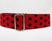 "Martingale Collar, Red and Black Polka Dots, Iggy's Designs, Greyhound Collar, 3/4"" 1"" 1.5""Martingale, 2""Martingale Dog Collar"