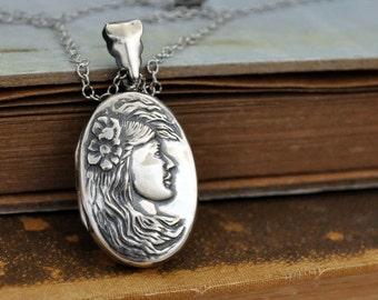antique sterling silver locket container necklace POPPY FLOWER GODDESS vintage find