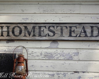 Early looking Antique Primitive HOMESTEAD Wooden Sign