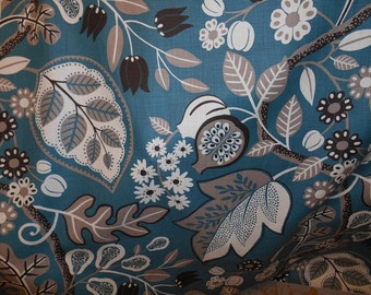 Turquoise gray DRAMATIC FLORAL dark brown cream upholstery fabric home decor, 07-29-25-1113