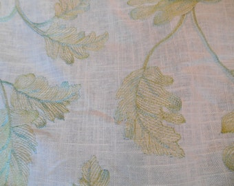 LEAVES EMBROIDERED, LINEN Drapery Fabric, Green Cream ,11-24-24-0714holstery Drapery