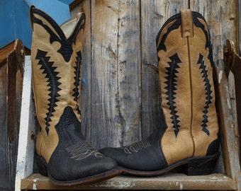 1980's, 2 tone, sawtooth, cowboy boots, men's size 9