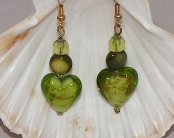 Gold And Green Earrings With Mother Of Pearl And Glass Beads