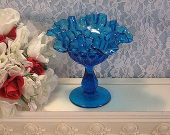 Vintage Fenton Glass Blue Colonial Thumbprint Ruffled Candy Dish Compote, 1970s Elegant Art Glass, Vintage Home Decor, 1970s Mid Century