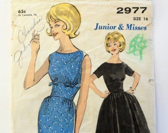 1960s Dress pattern, sleeveless, party dress, wasp waist, wiggle or full skirt Advance 2977 misses size 16, bust 36 vintage sewing pattern