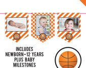 INSTANT DOWNLOAD Basketball Party - DIY printable photo banner kit - Includes Newborn through 12 Years, Plus Baby Milestones