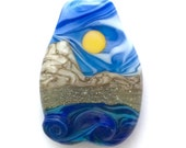 Across The Water : Ocean Wave 3D Lampwork Bead Handmade Sunny Day Mountain Landscape Focal